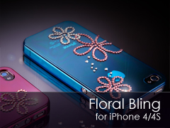 Floral Bling Swarovski iPhone 4S/4 tok